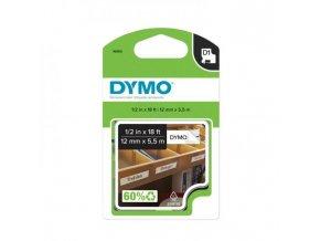 Permanentná vinylová páska Dymo D1 12 mm biela/čierna