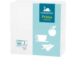 Papierové servítky 1-vrstvové HARMONY Prima 33x33cm biele 100ks