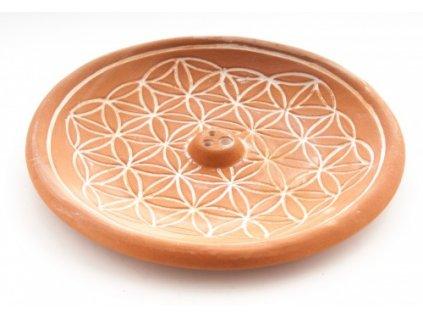 """Vykuřovací podtácek """"Květ života"""" z keramiky hnědý"""