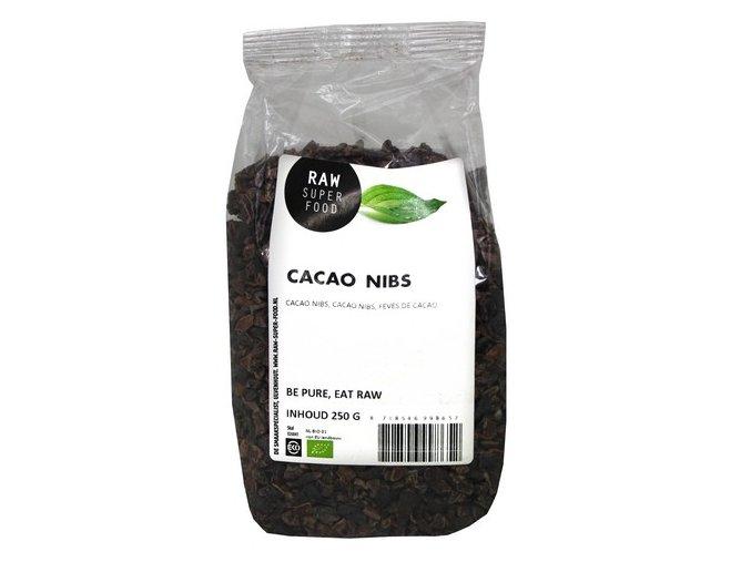 Kakaové boby drcené nepražené, Bio – Raw Organic Food, 250g