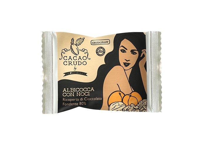 Meruňky s vlašskými ořechy v hořké čokoládě, bio - Cacao Crudo 25 g