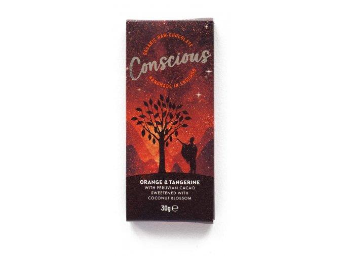 Conscious čokoláda – Pomeranč a mandarinka, bio & raw, 30 g