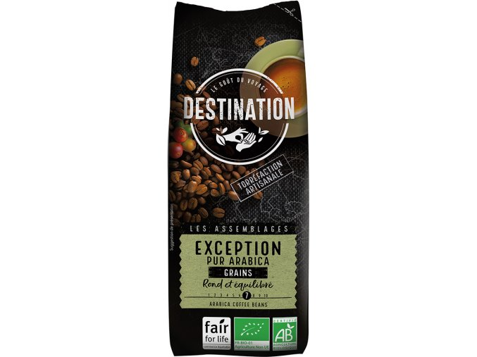 Bio fair trade káva pražená zrnková Exception - Destination, 250 g