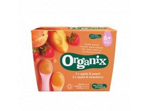 Jablečno-broskvová a jablečno-jahodová přesnídávka, Bio - Organix, 4x100g
