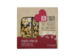 Tyčinky s brusinkami, arašídy a mandlemi – BioToday, 75 g (3 x 25 g)
