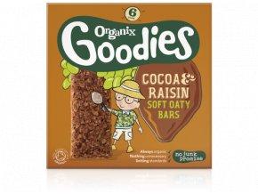 AKCE - Měkké kakaové tyčinky s rozinkami a celozrnnými ovesnými vločkami, Bio - Organix, 6 x 30g