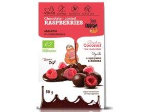 Lyofilizované maliny v čokoládě, bio, vegan - Super Fudgio, 50g