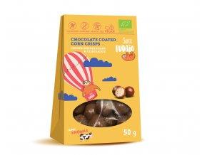 Křupavé kukuřičné kuličky v čokoládě bio vegan