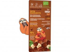 Čokoláda s lískovými oříšky, bio, vegan - Super Fudgio, 50 g