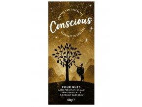 Conscious čokoláda – Čtyři ořechy, bio & raw, 60 g