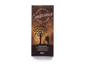 Conscious čokoláda – Čtyři ořechy, bio & raw, 30 g