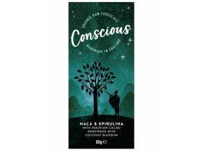 Conscious čokoláda – Maca a spirulina, bio & raw, 60 g