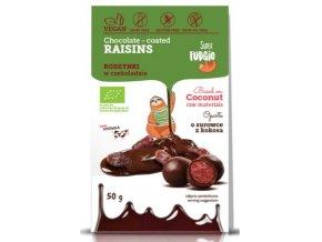 Rozinky v čokoládě, bio, vegan - Super Fudgio, 80g - AKCE