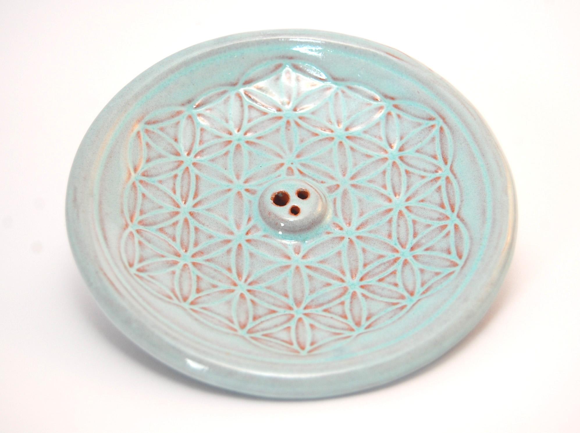 """Vykuřovací podtácek """"Květ života"""" z keramiky modrý"""