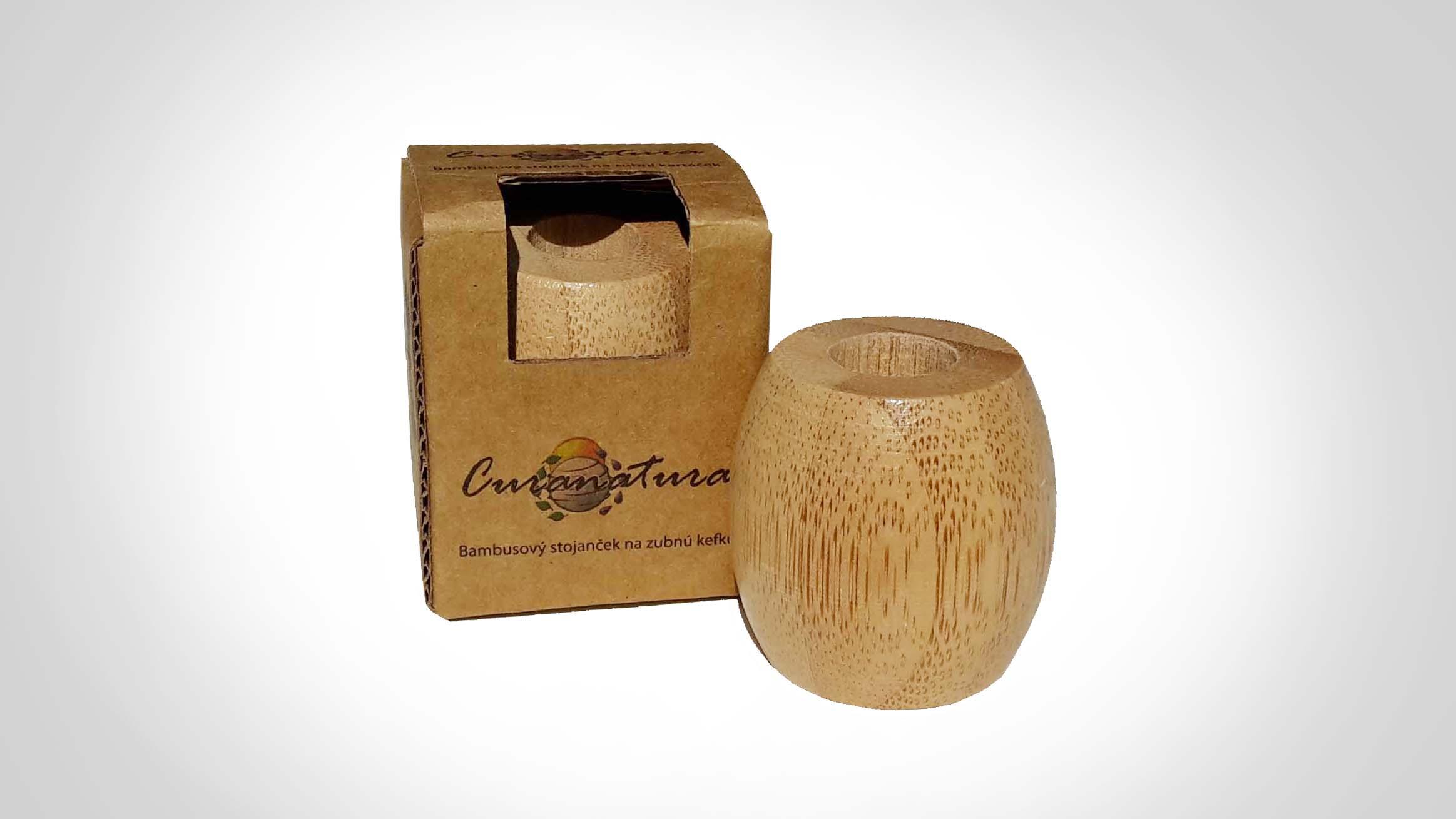 Bambusový stojánek na zubní kartáček - malý