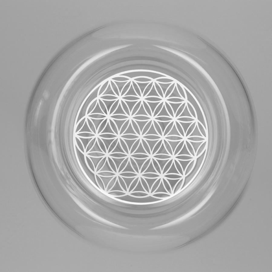 Karafa, sklo, revitalizace, natures design, květ života, zlatý řez Karafa Alladin: Bílý květ života 1,3l