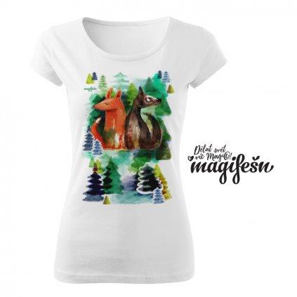 liška a vlk v lese dámske tričko bílá
