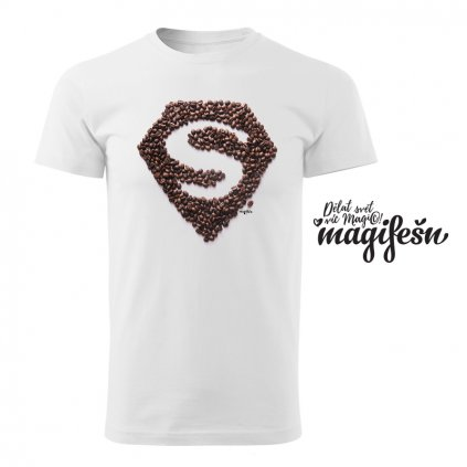 coffeelover superman panske tricko bile