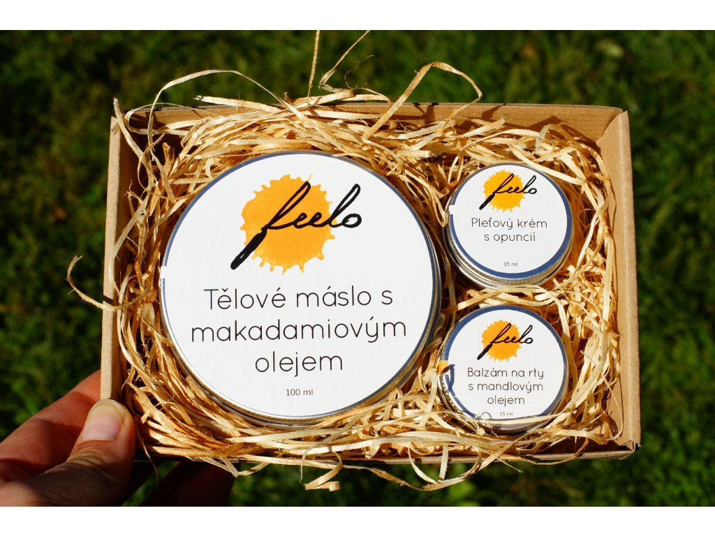 Dárkový balíček: tělové máslo, pleťový krém a balzám na rty