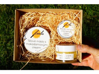 Dárkový balíček: tělové máslo, balzám na ruce a pleťový krém
