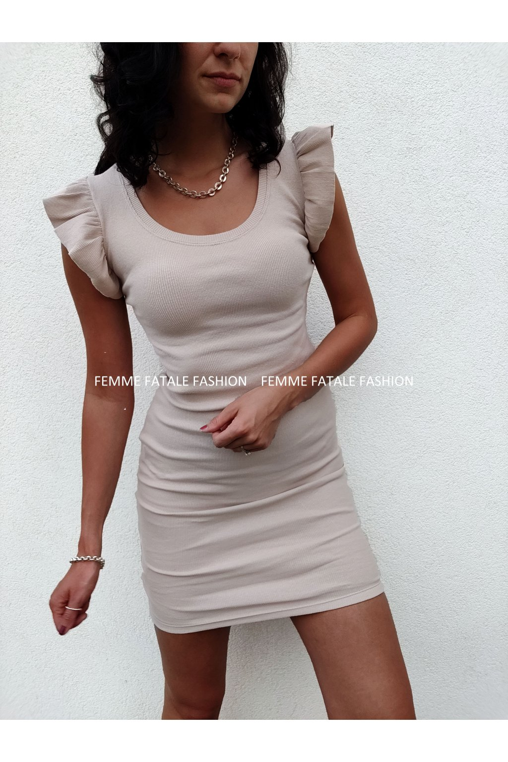Dámské žebrované šaty EMILY s volánky