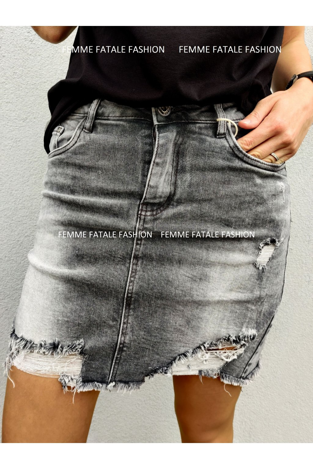 Šedá trhaná džínová sukně VEGAS