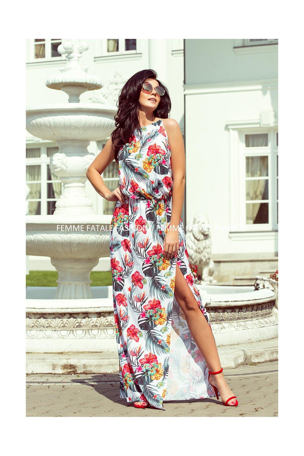 Dlouhé MAXI květované šaty s rozparkem PARADISE (3)1