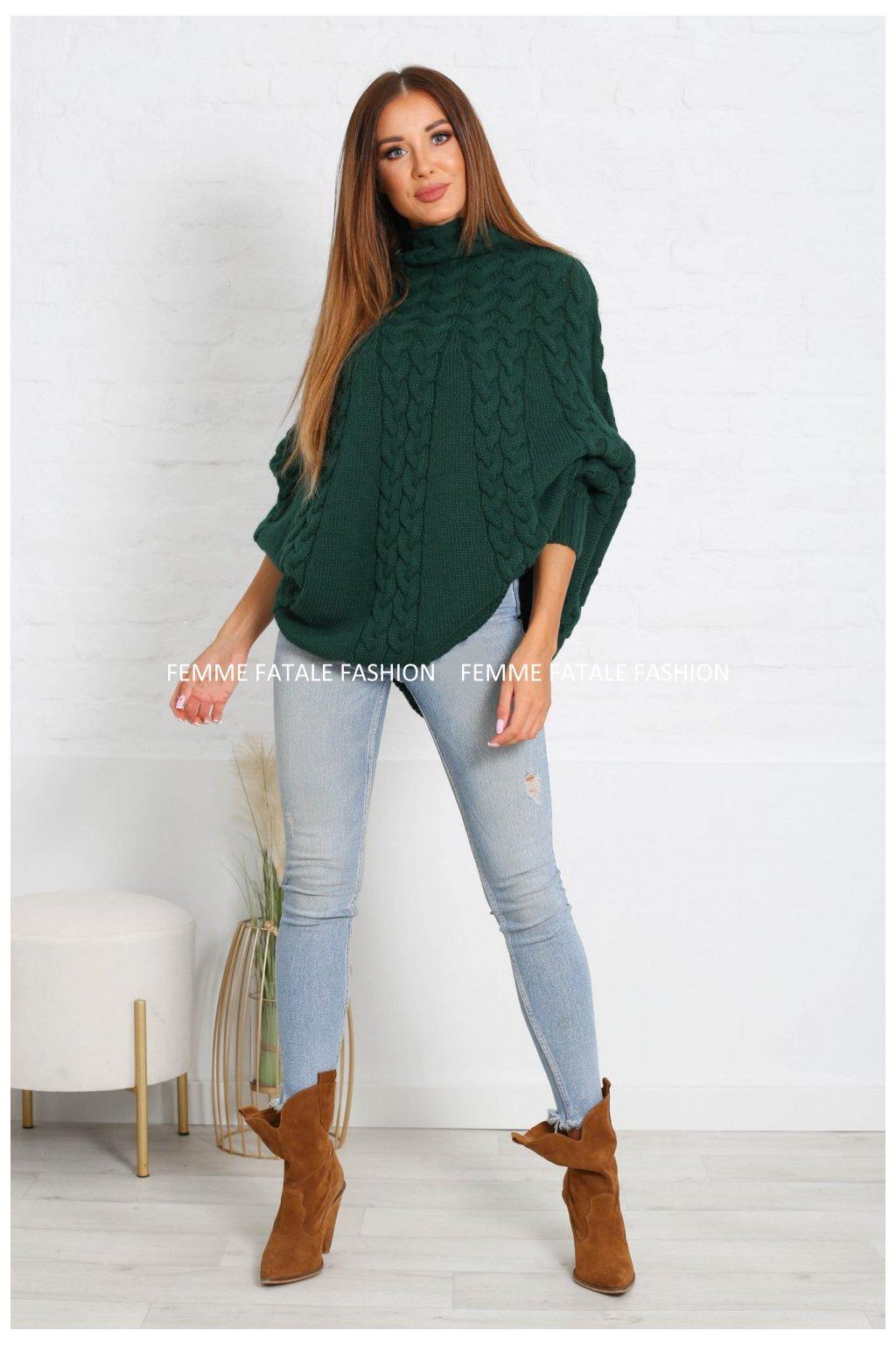 Dámský pletený svetr PONCHO femmefatalefashion (1)