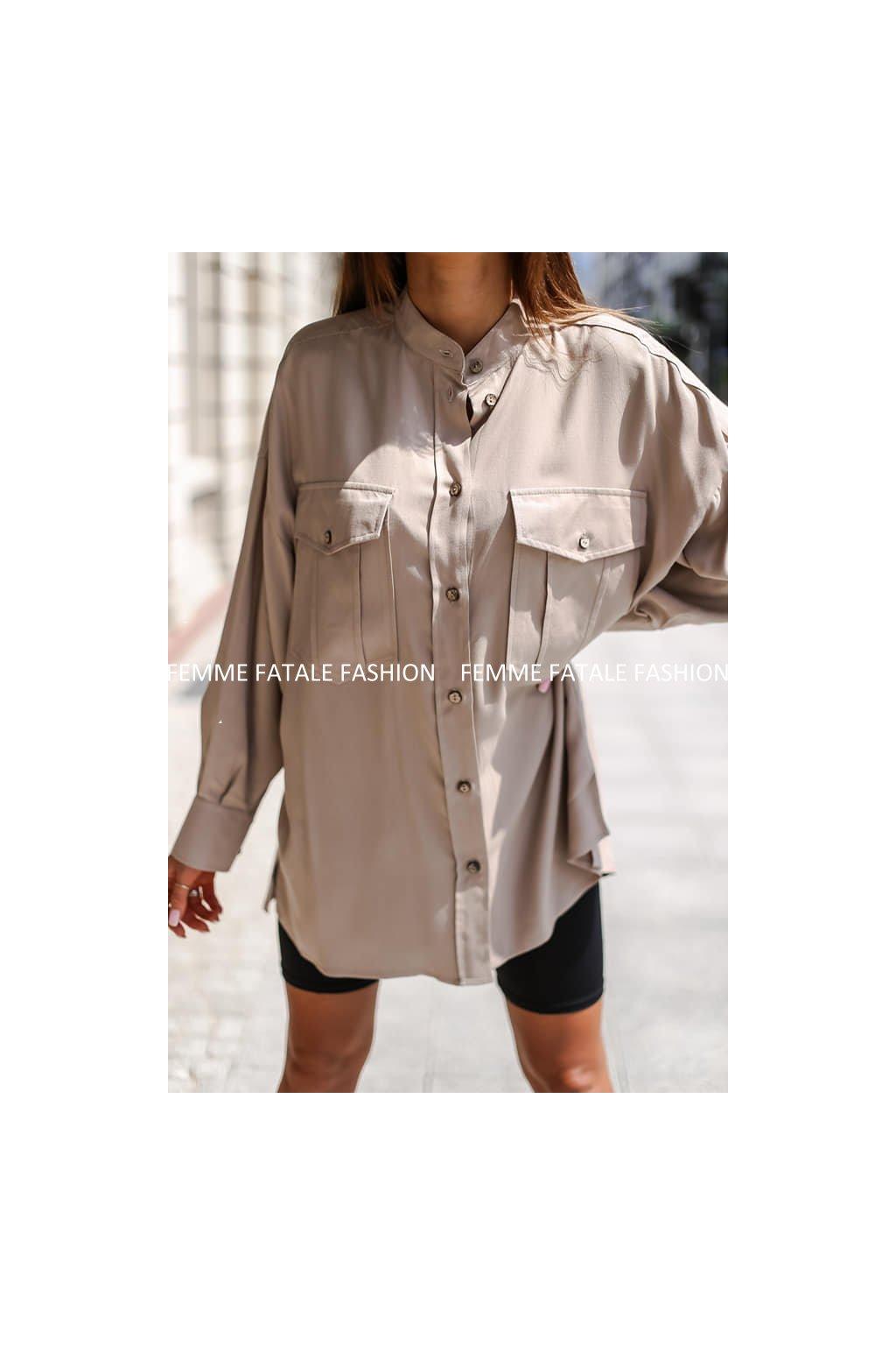 Dámská oversize košile POCKET femmefatalefashion (2)