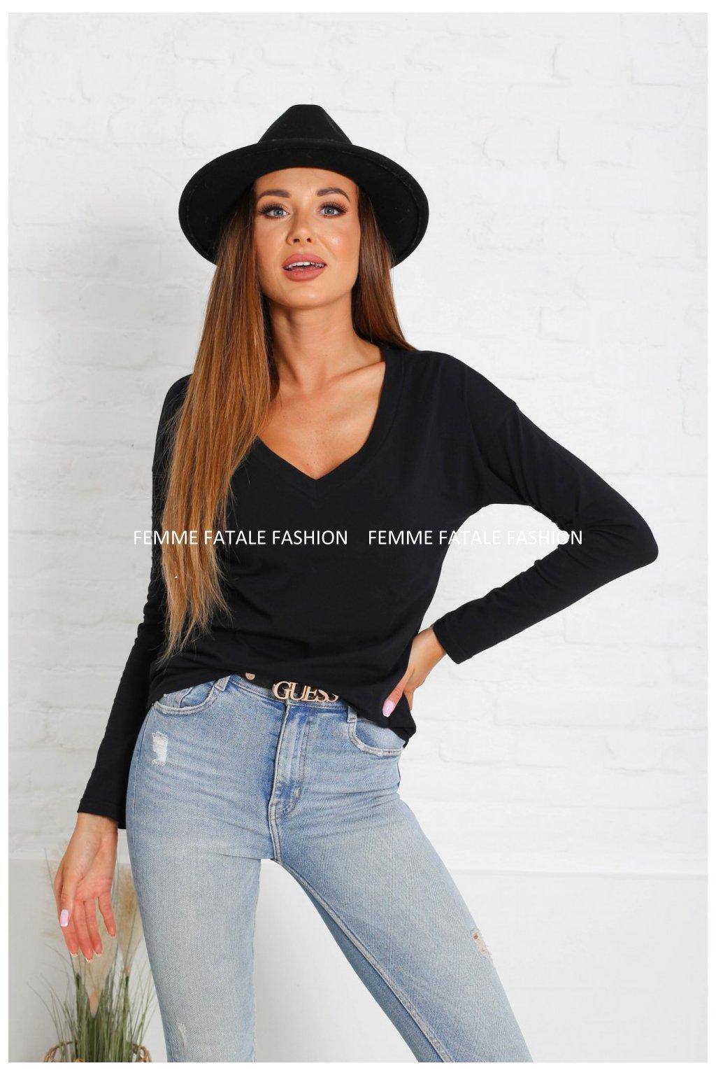 Dámské tričko V NECK s dlouhým rukávem femmefatalefashion (3)