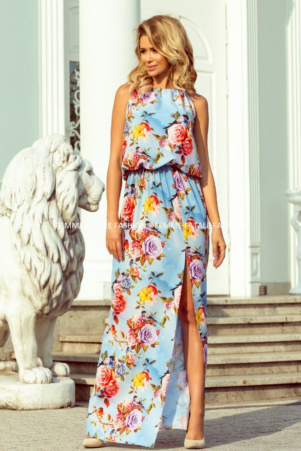 Dlouhé MAXI květované šaty s rozparkem ATLANTA