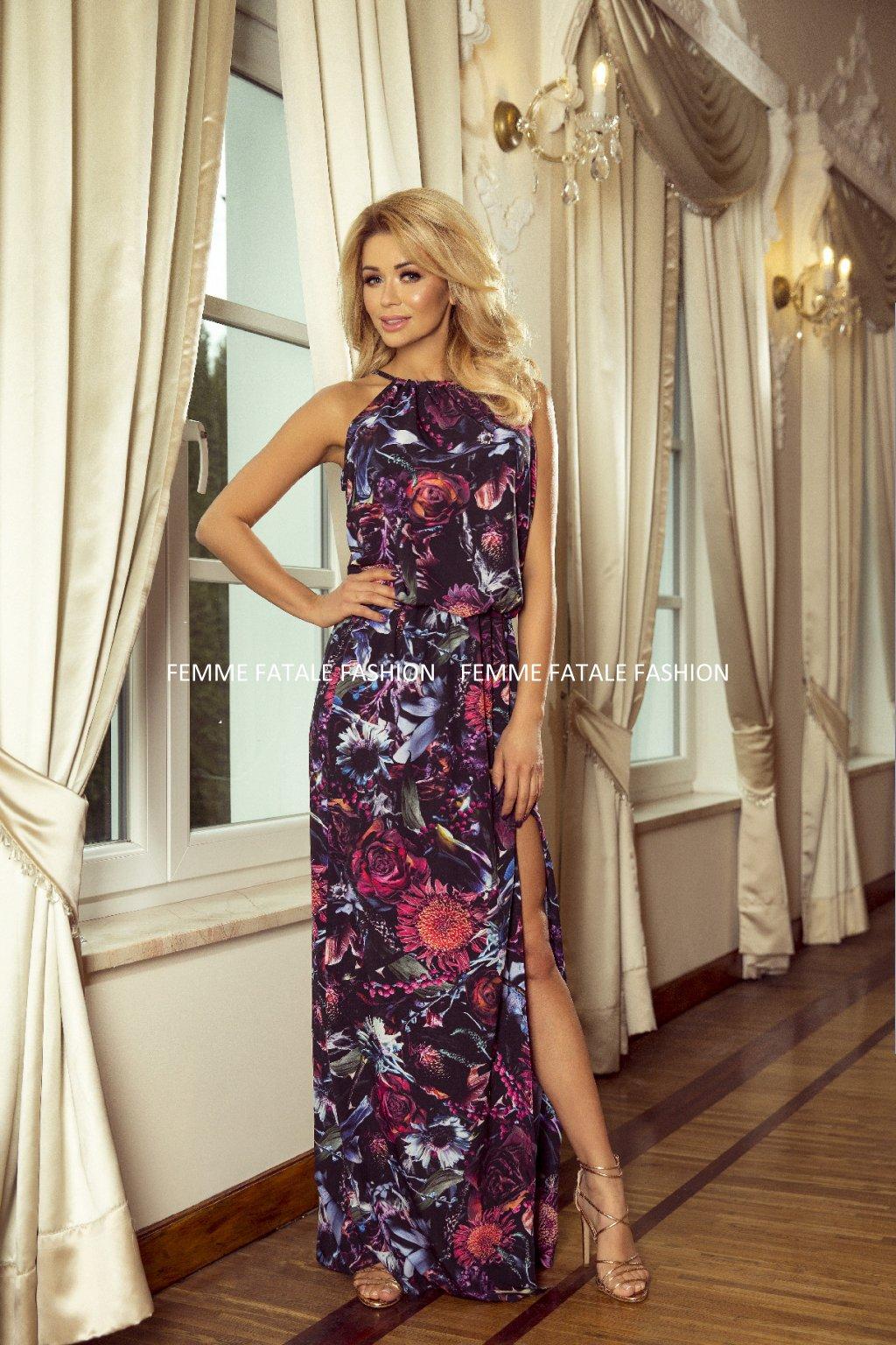 Dlouhé MAXI květované šaty s rozparkem FLOWER