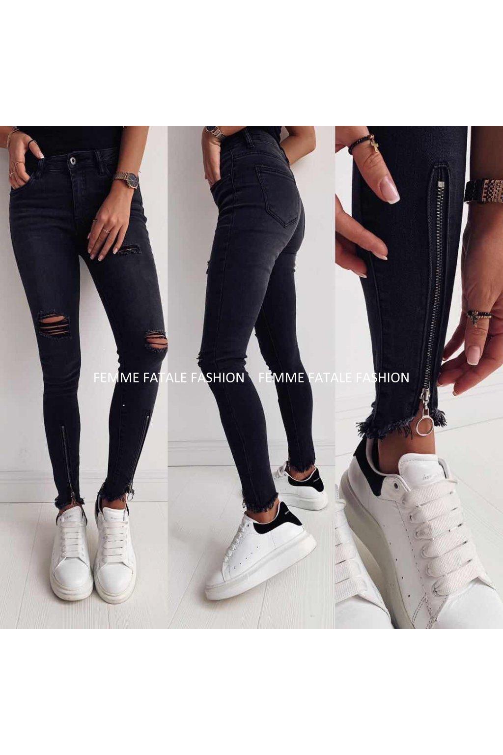 Černé trhané džíny MIAMI