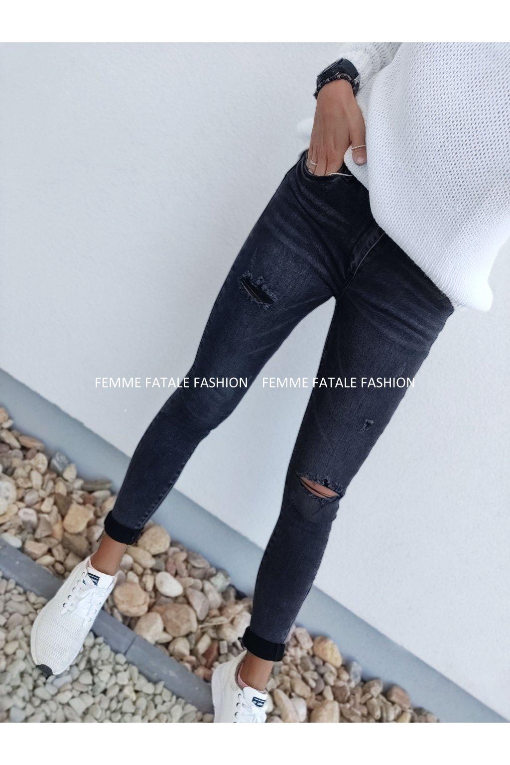 Dámské černé trhané džíny NELIE femmefatalefashion (4)