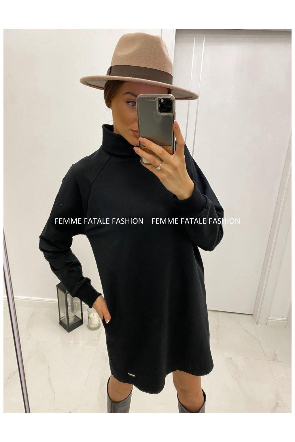 Dámské rolákové šaty s kapsami BASIC femmefatalefashion (4)