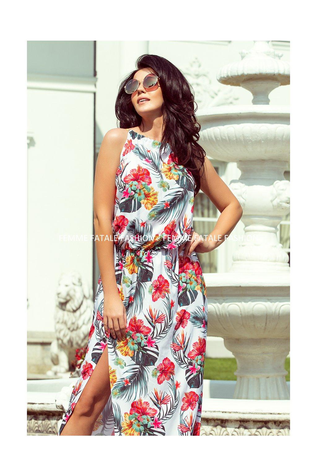 Dlouhé MAXI květované šaty s rozparkem PARADISE