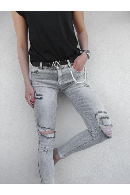 Dámské trhané push up světle šedé džíny Dress