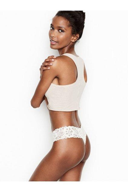 Victoria's Secret krajkové tanga Floral Lace Thong Panty White 2