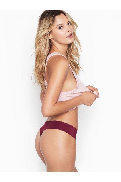 Victoria's Secret bezešvé tanga No Show Thong Panty vínová 401042 (1)