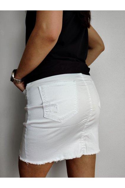 Džínová bílá trhaná sukně ANGEL (1)
