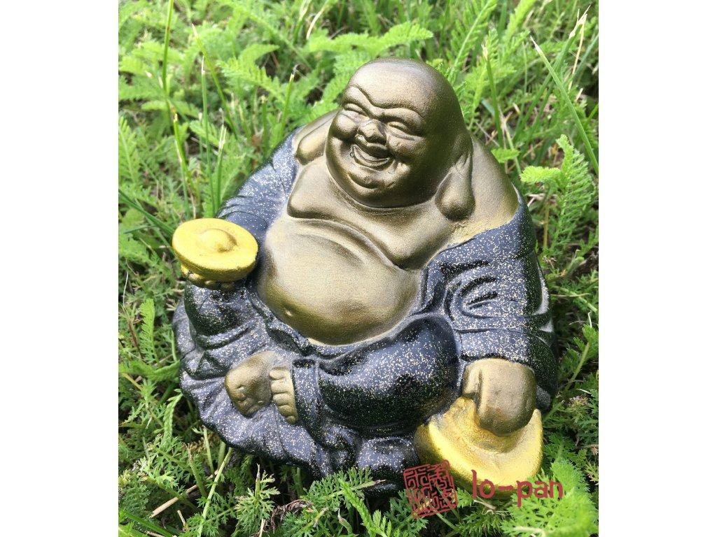 Smějící se Buddha s ingotem