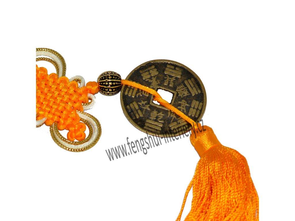 Velká mince s uzlem štěstí - žlutá