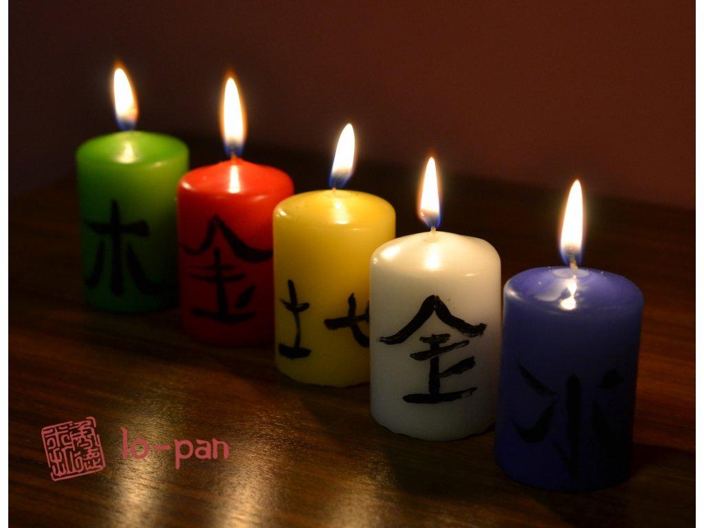 Svíčky PĚTI PRVKŮ – set