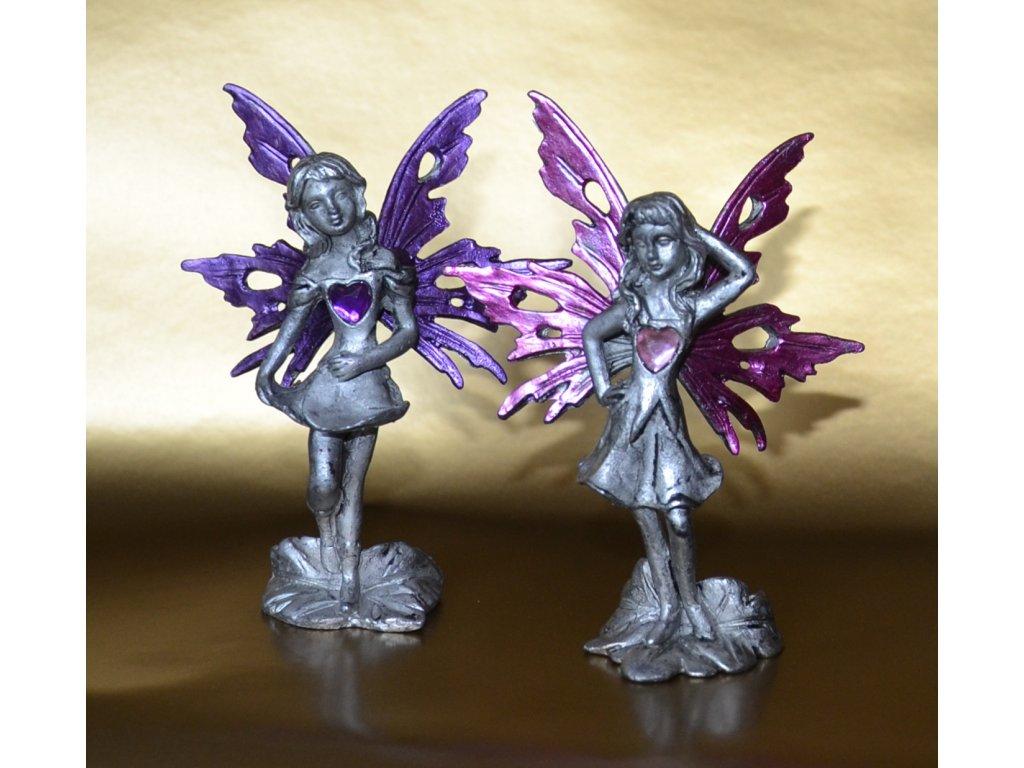 Anděl LÁSKY pár - růžový a fialový