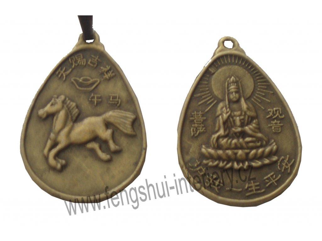 Kůň a Kuan Yin - přívěsek