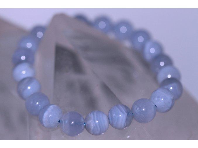 chalcedon modrý náramek kuličky 5
