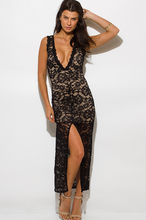 black-lace-overlay-sleeveless-deep-v-neck-high-slit-bodycon-evening-party-maxi-dress__2