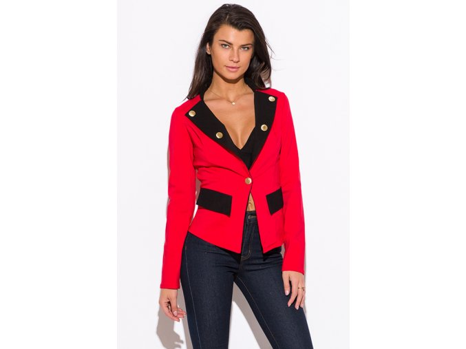 red color block golden button military style blazer jacket 0