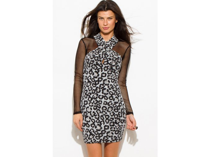 silver black cheetah animal print shimmery metallic long sleeve fishnet mesh contrast cut out wrap front halter bodycon fitted club mini dress 0
