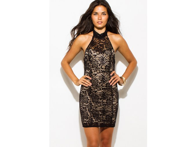 black sheer lace overlay high halter neck backless bodycon fitted mini club dress 0
